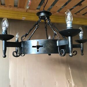 Wrought Iron Medieval Style Chandelier Needs Wiring