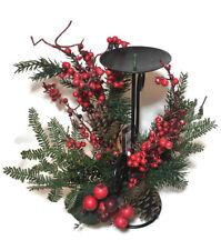 Decorato Natale portacandela con Bacche Decorazione Addobbo Decorazione Natale