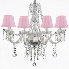 Crystal Chandelier Lighting 28X28 Fixture 8 Lights Pendant Lamp Pink Shades
