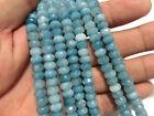 5x8mm Brazilian Aquamarine Gemstone Faceted Abacus Loose Beads 15''
