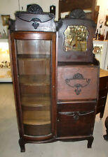 Antique Old Finish Oak Side by Side Secretary Bookcase Curved Glass