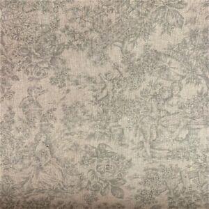 Vintage French Toile De Jouy Linen Fabric in Grey   Double Width 280cm Wide