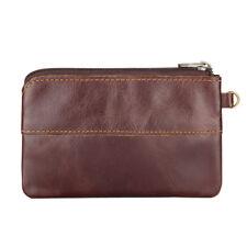 Genuine Cow Leather Unisex Zipper Around Wallet Small change Pocket Coin Purse