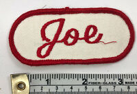 Red White  Vintage Name Patch Joe Sew On Mechanic Embroidered