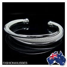 Ladies Womans 925 Sterling Silver Mesh Bangle Bracelet Fashion Jewellery
