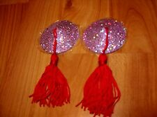 **ADULT BARGIN DRESS UP FUN TOYS**  SPARKLING PINK WITH RED TASSELS NIPPLE TOY