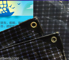 Premium Black & White Grid Fiber Reinforced Heavy Duty Poly Shade Cloth Tarp