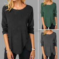 Size Women Plain Long Sleeve Casual Jersey Stretchy Ladies Basic T-Shirt Tee Top