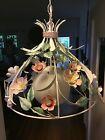 Vintage LRG Mid Century Metal Tole Shabby Chic Cottage Rose Floral Light Fixture
