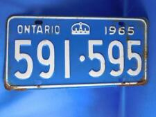 ONTARIO LICENSE PLATE 1965 591 595 VINTAGE MUSCLE CAR SHOP MAN CAVE SIGN