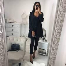UK Womens Lapel Blazer Suit Long Coat Jacket Ladies Work Office OL Outwear Tops