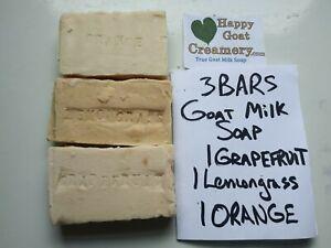 3 BARS LEMONGRASS ORANGE GRAPEFRUIT GOAT MILK SOAP HAPPY GOAT CREAMERY BULK LOT