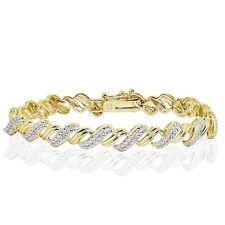 18K Gold Tone 0.10ct TDW Natural Diamond San Marco Tennis Bracelet in Brass