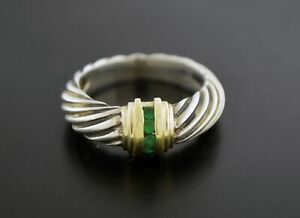 Vintage David Yurman 14k Gold Sterling Silver Emerald Cable Dome Ring Size 6.75