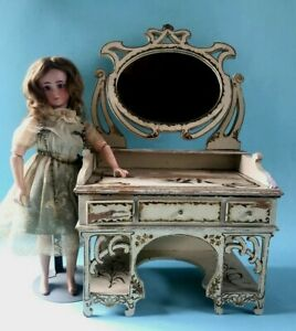 Spielzeug Spiegel-Waschtisch antik, Puppenstube -haus Gottschalk/Hacker? ~1880