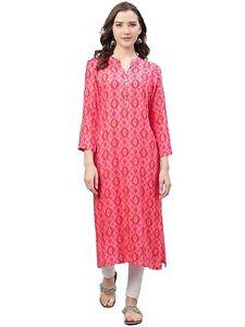 Indian Women Pink Printed Kurta Kurti Top Tunic Ethnic Designer Dress Pakistani