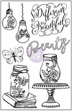 Salvage District Beauty 7 Cling Unmounted Rubber Stamp Set Prima 584702 New