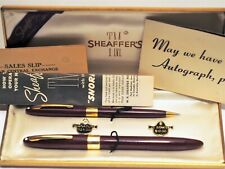 Vintage Sheaffer Snorkel Autograph Fountain Pen Set in Box, Unengraved 14k Bands