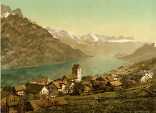 Glarus. Obstalden gegen den obern Walensee.  Photochrome original d'époque,