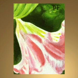 DONNA FRANCIS Original Aceo ANGEL TRUMPET Painting Art Floral Flowers Abstract