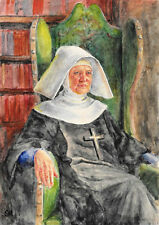 Watercolour of a nun by well-listed Victorian artist Samuel A Rayner 1806-1879