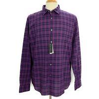 John Varvatos Mayfield Slim Fit Button Front Shirt XL Purple Plaid Long Sleeve