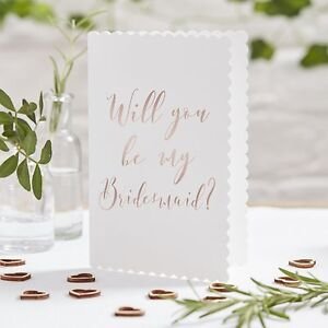 Will You Be My Bridesmaid Cards & Envelopes - Rose Gold - Pack of 5