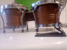 Bongos Trommel Club Salsa percussion Größe: 6,5 + 7,5 Zoll Naturfell Holz