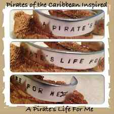 Handmade Pirates of the Caribbean A Pirate's Life For Me Hand Stamped Cuff Geeky
