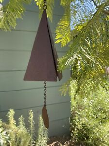 "12"" Vintage 4-Tone Steel Triangle Pyramid Wind Chime Bell Joe Coniff Style"