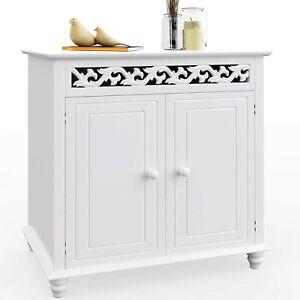White Wooden Cabinet 2 Cupboard Doors Storage Shelves Carvings Bedroom Hall Unit