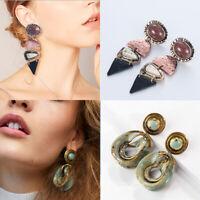 Women Vintage Retro Green Alloy Pendant Chic Geometric Dangle Drop Earrings Gift