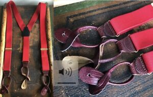 VTG CAS GERMANY BRIGHT RED SUSPENDERS BRACES MAROON CLARET LEATHER FITTINGS GUC