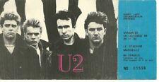 RARE / TICKET BILLET DE CONCERT - U2 BONO : LIVE A MARSEILLE ( FRANCE ) 1984