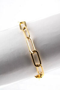 """Chains and Pearls Womens 14k Yellow Gold Paperclip 6.5"""" Link Bracelet"""