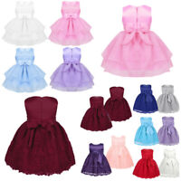 Baby Princess Party Dresses Wedding Flower Girl Dress Christening Tutu Bow Gown