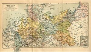 1888 GERMANY PRUSSIA BERLIN DANZIG KONIGSBERG Antique FOLIO Map dated
