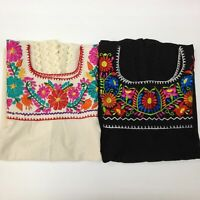 NEW Puebla Mexican Boho Hippie Peasant Vintage Embroidered Artisan Blouse Top