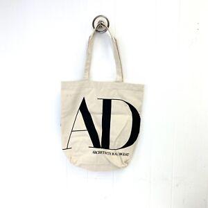 Architectural Digest Canvas Bold Black AD Logo Tote Bag Flat Bottom Vintage Look