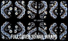USA 12 HOLIDAY FULL COVER 3D NAIL ART WRAP DECALS STICKERS WITH NAIL FILE