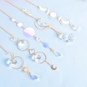 5X Crystal Suncatcher Pendant Wind Chime Hanging Star Moon Prism Rianbow Maker