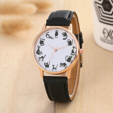 Women Casual Watch Cat Dial Leather Stainless Steel  Quartz Wrist Watches