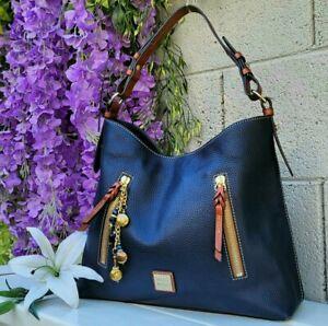 Dooney & Bourke NAVY pebbled Cooper Leather Hobo Shoulder Bag Purse handbag