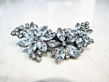 Small silver crystal hair clip barrette bridal clip bridal barrette