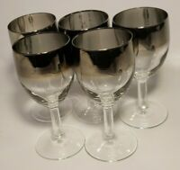 "VTG Silver Fade Small Wine Glasses Set of 5 Barware Retro 5"" EUC"