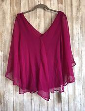 Nordstrom MATTY M Pink Purple Flowy Drape Ruffle Silk Sleeve Blouse Top XS NEW *