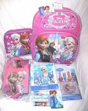"""10 Frozen Anna&Elsa 16"""" Backpack,LunchBag,Party Bags,Jump Rope,Puzzle,Lip Gloss"""
