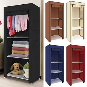 Bedrooms Single Canvas Clothes Organiser Wardrobe Storage Cupboard Shelves Kit