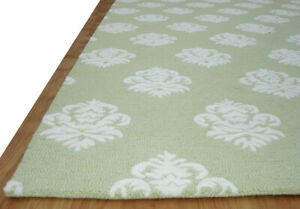 Damask Green Wool Hand Tufted Area Rug Carpet for Home