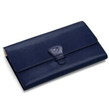 Aspinal of London Classic Travel Wallet in Midnight Blue Lizard. CMM embossed.